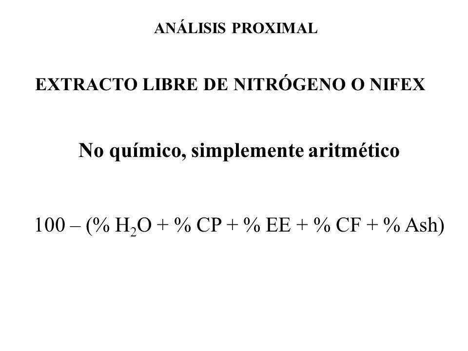 EXTRACTO LIBRE DE NITRÓGENO O NIFEX No químico, simplemente aritmético