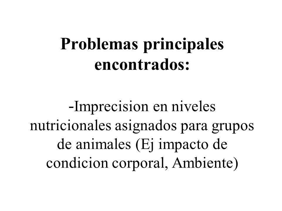 Problemas principales encontrados: -Imprecision en niveles nutricionales asignados para grupos de animales (Ej impacto de condicion corporal, Ambiente)