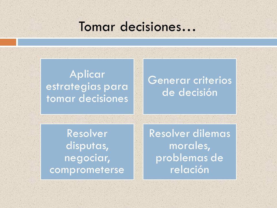 Tomar decisiones… Aplicar estrategias para tomar decisiones