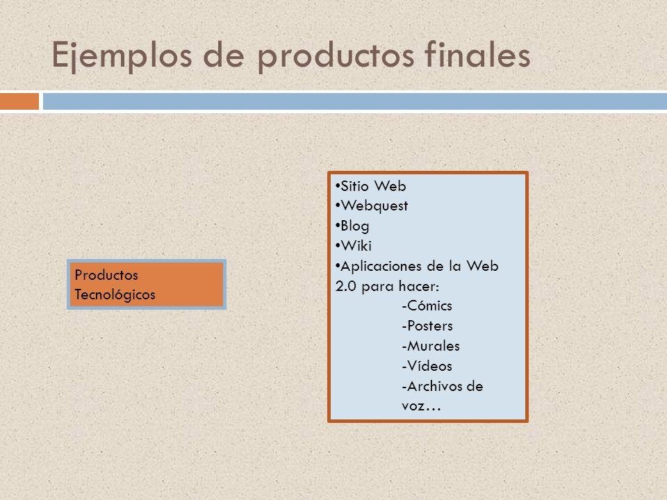 Ejemplos de productos finales