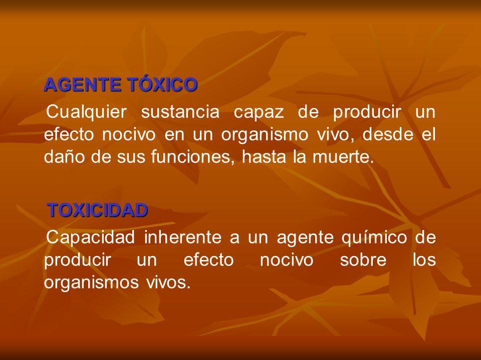 AGENTE TÓXICO Cualquier sustancia capaz de producir un efecto nocivo en un organismo vivo, desde el daño de sus funciones, hasta la muerte.
