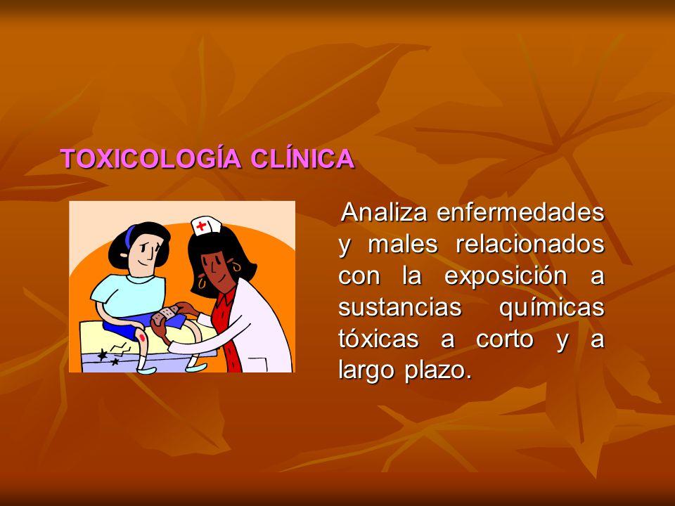 TOXICOLOGÍA CLÍNICA Analiza enfermedades y males relacionados con la exposición a sustancias químicas tóxicas a corto y a largo plazo.