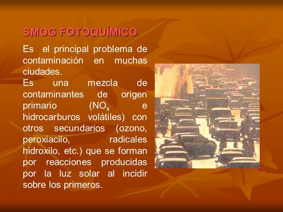 SMOG FOTOQUÍMICO Es el principal problema de contaminación en muchas ciudades.