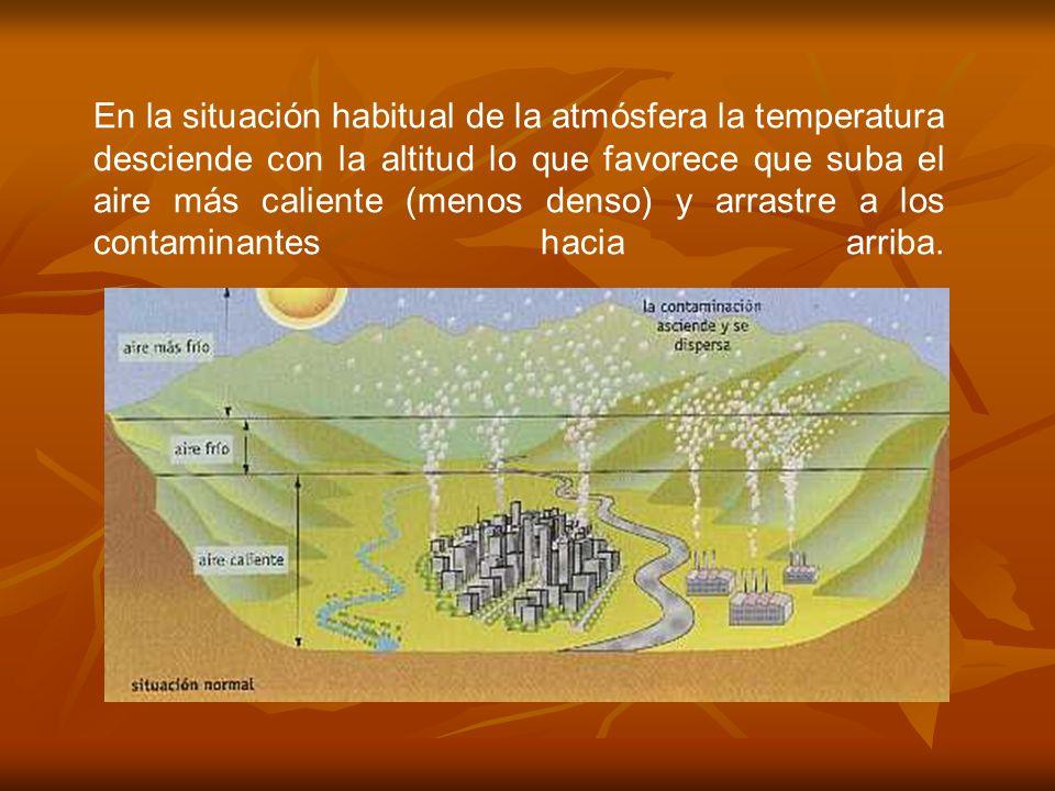En la situación habitual de la atmósfera la temperatura desciende con la altitud lo que favorece que suba el aire más caliente (menos denso) y arrastre a los contaminantes hacia arriba.