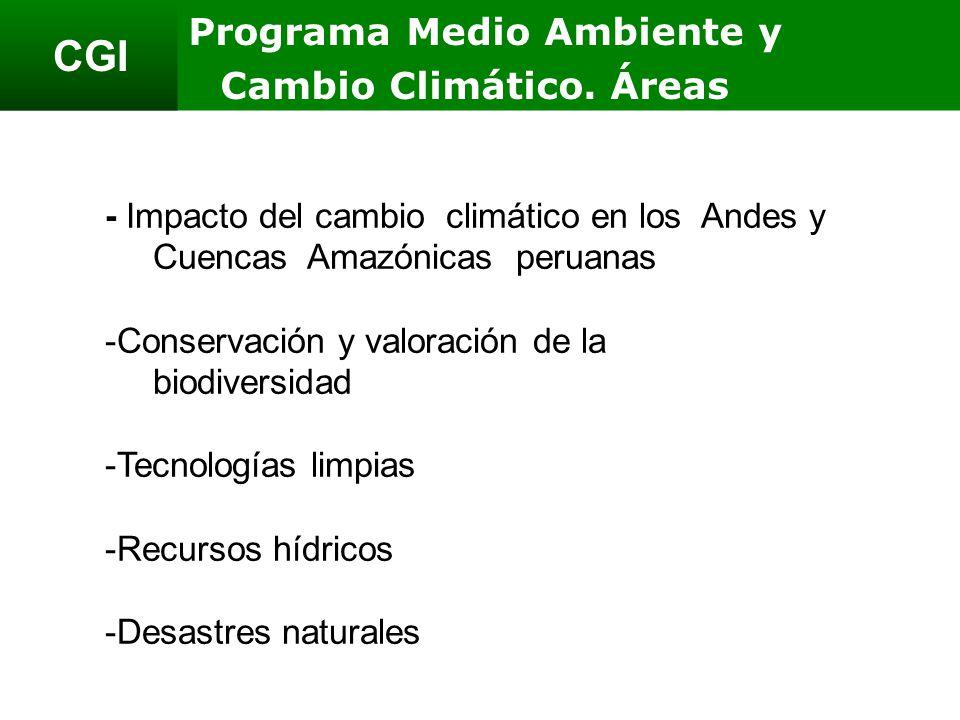 CGI Programa Medio Ambiente y Cambio Climático. Áreas