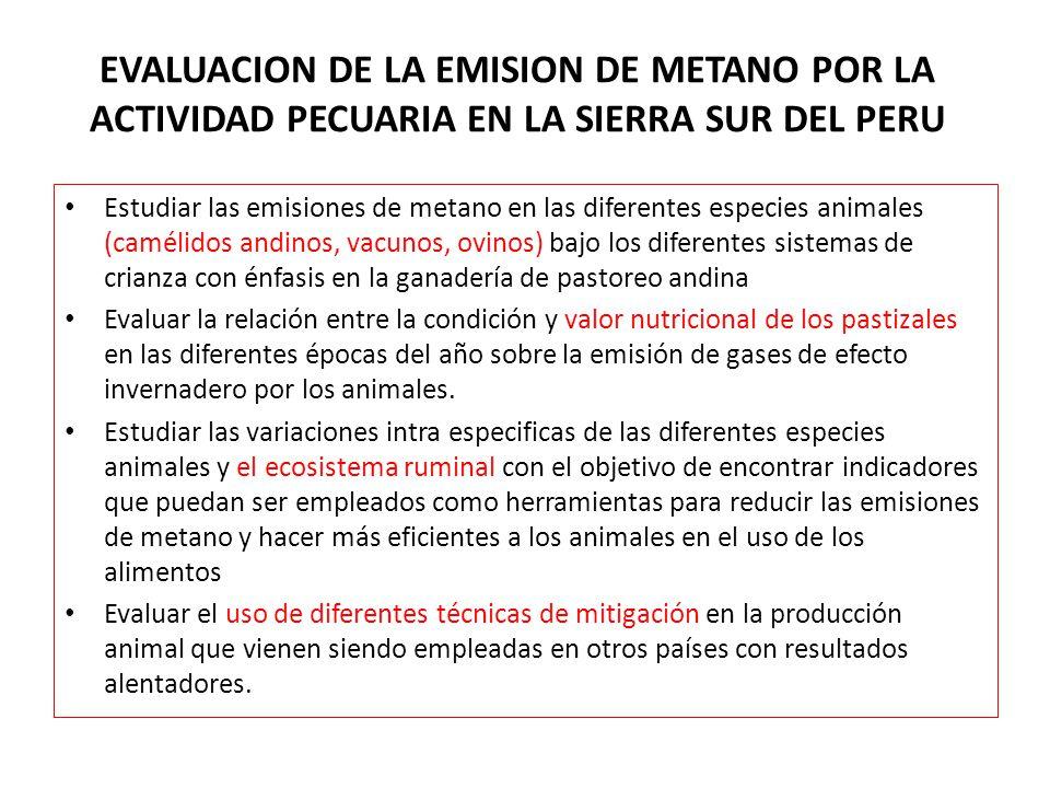 EVALUACION DE LA EMISION DE METANO POR LA ACTIVIDAD PECUARIA EN LA SIERRA SUR DEL PERU