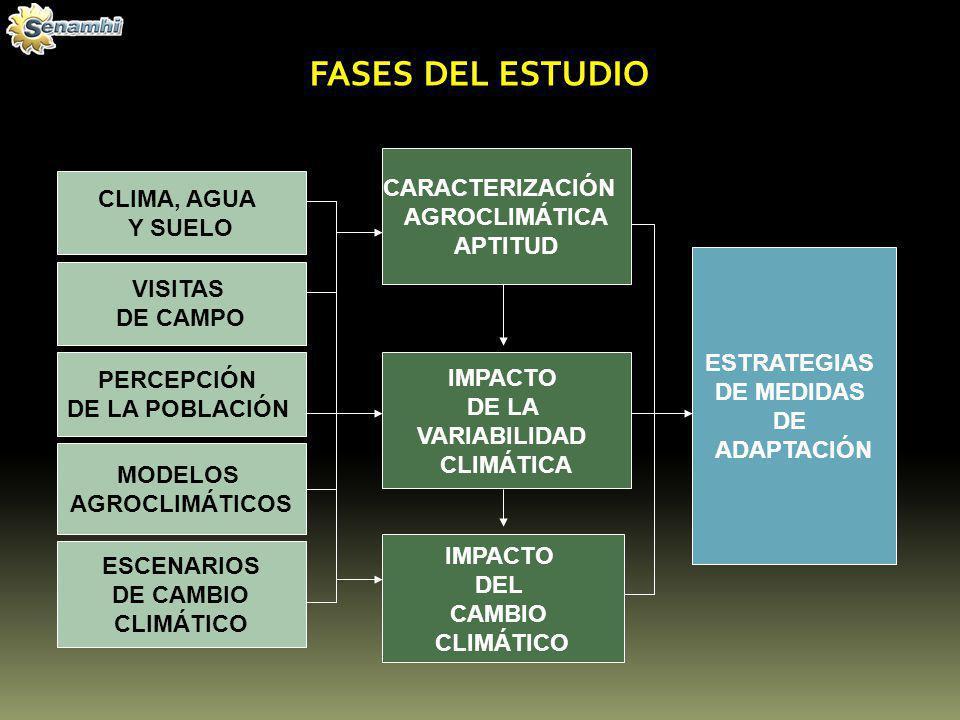 FASES DEL ESTUDIO CARACTERIZACIÓN CLIMA, AGUA AGROCLIMÁTICA Y SUELO