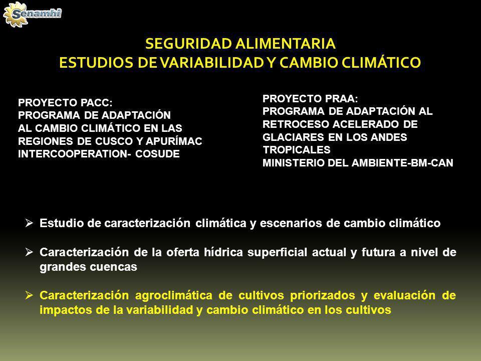 SEGURIDAD ALIMENTARIA ESTUDIOS DE VARIABILIDAD Y CAMBIO CLIMÁTICO