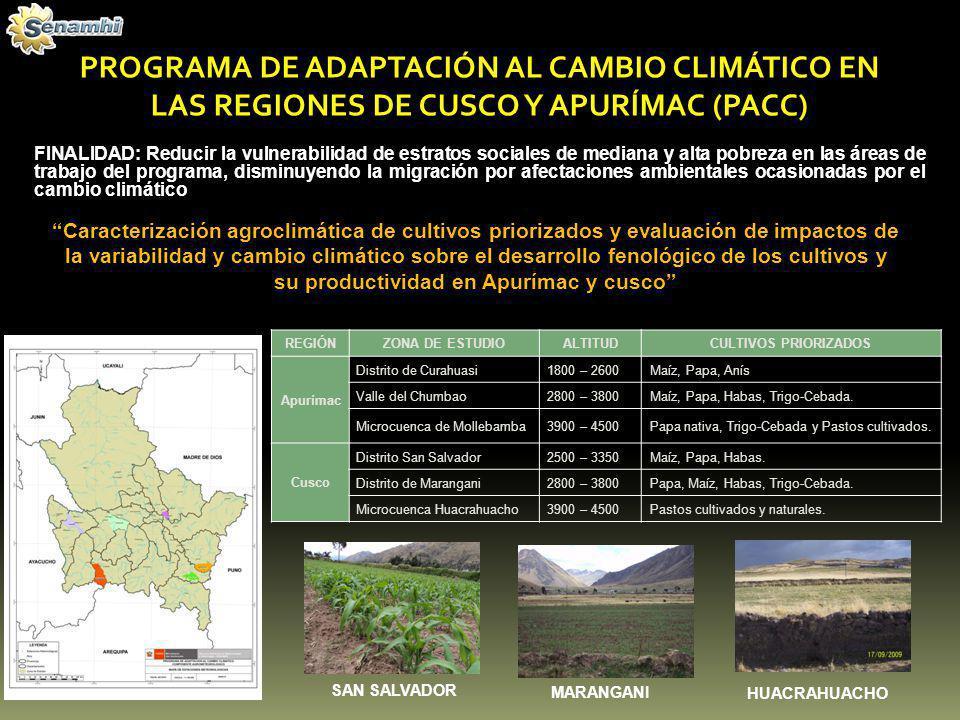 PROGRAMA DE ADAPTACIÓN AL CAMBIO CLIMÁTICO EN LAS REGIONES DE CUSCO Y APURÍMAC (PACC)