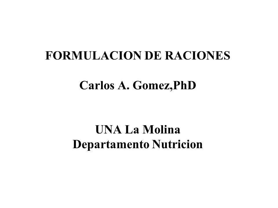 FORMULACION DE RACIONES Carlos A