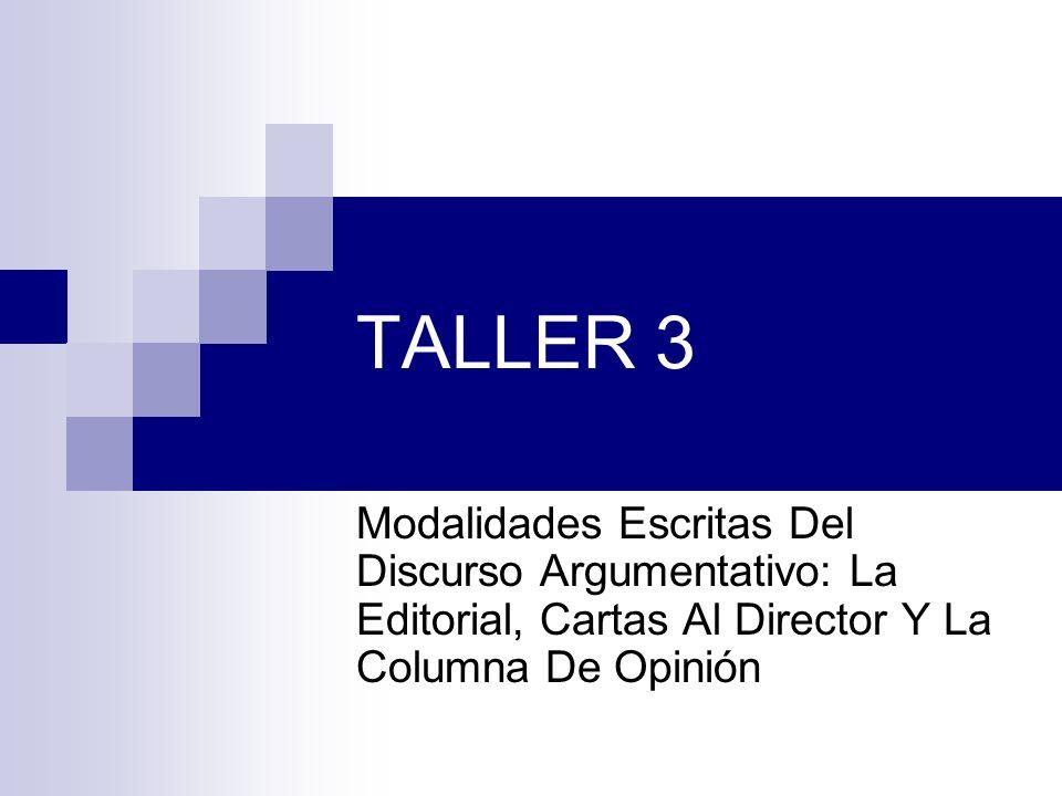 TALLER 3 Modalidades Escritas Del Discurso Argumentativo: La Editorial, Cartas Al Director Y La Columna De Opinión.