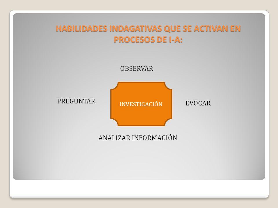 HABILIDADES INDAGATIVAS QUE SE ACTIVAN EN PROCESOS DE I-A: