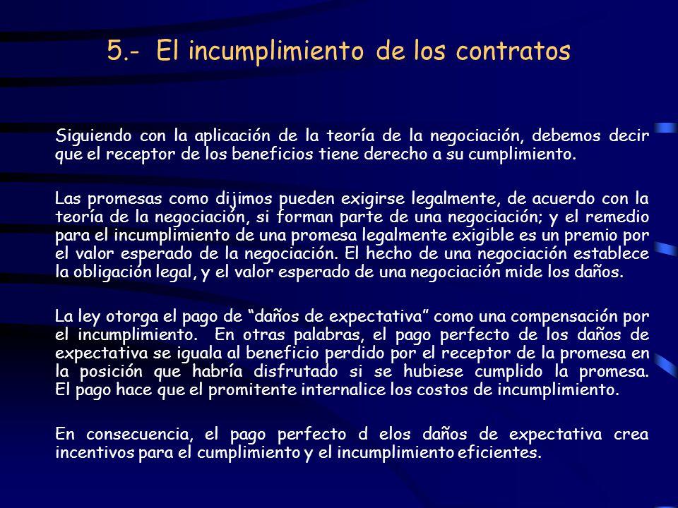 5.- El incumplimiento de los contratos