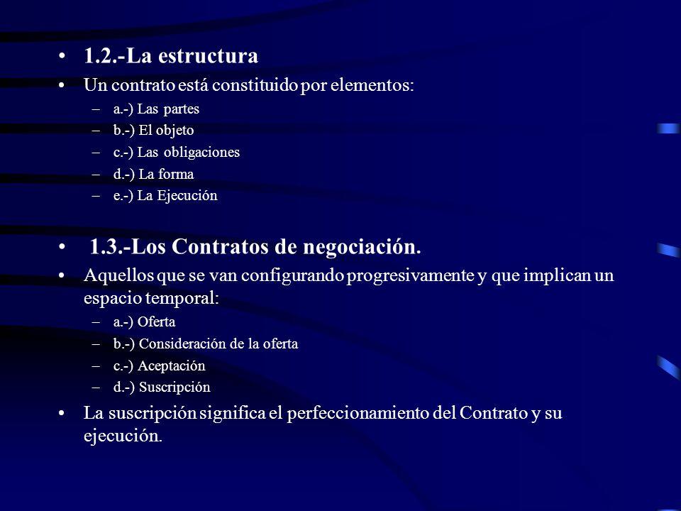 1.3.-Los Contratos de negociación.