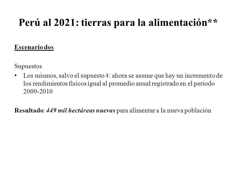 Perú al 2021: tierras para la alimentación**