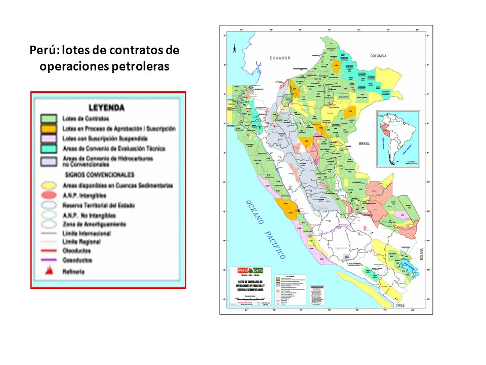 Perú: lotes de contratos de operaciones petroleras