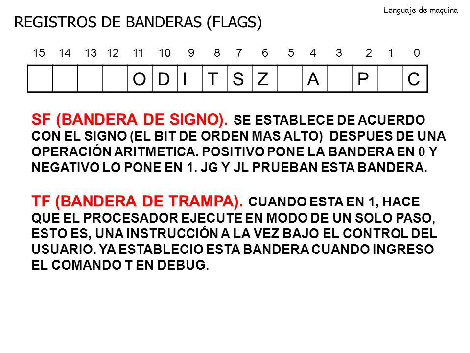 O D I T S Z A P C REGISTROS DE BANDERAS (FLAGS)