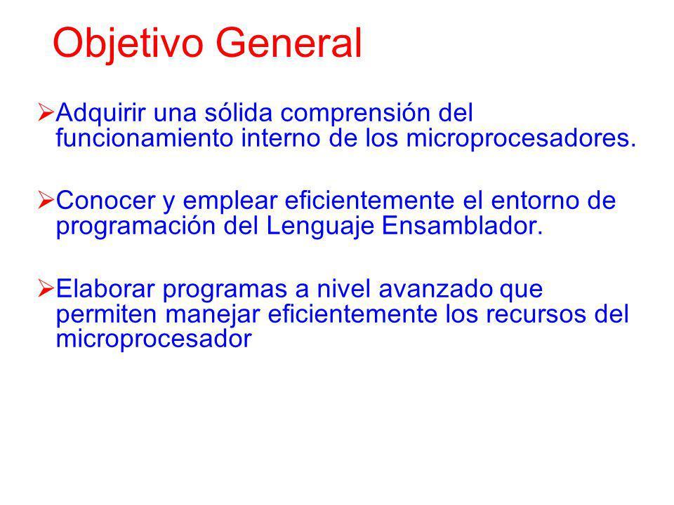 Objetivo General Adquirir una sólida comprensión del funcionamiento interno de los microprocesadores.