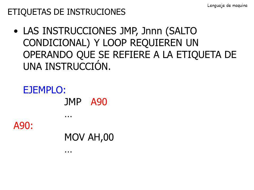 Lenguaje de maquina ETIQUETAS DE INSTRUCIONES.