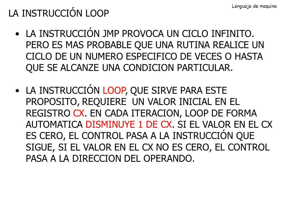 Lenguaje de maquina LA INSTRUCCIÓN LOOP.
