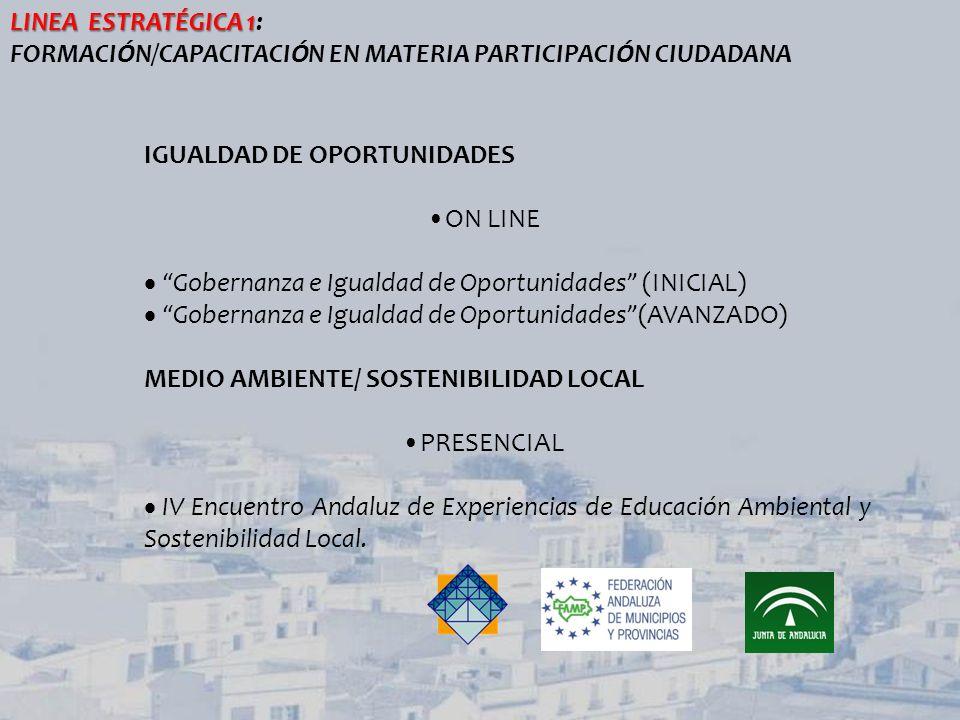 LINEA ESTRATÉGICA 1: FORMACIÓN/CAPACITACIÓN EN MATERIA PARTICIPACIÓN CIUDADANA. IGUALDAD DE OPORTUNIDADES.