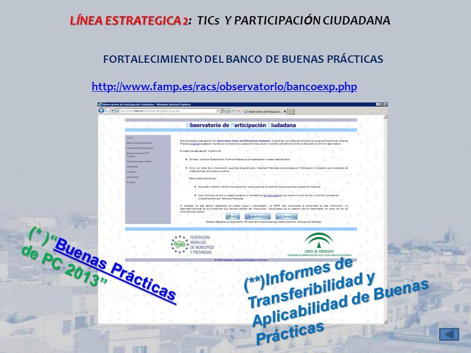 (**)Informes de Transferibilidad y Aplicabilidad de Buenas Prácticas