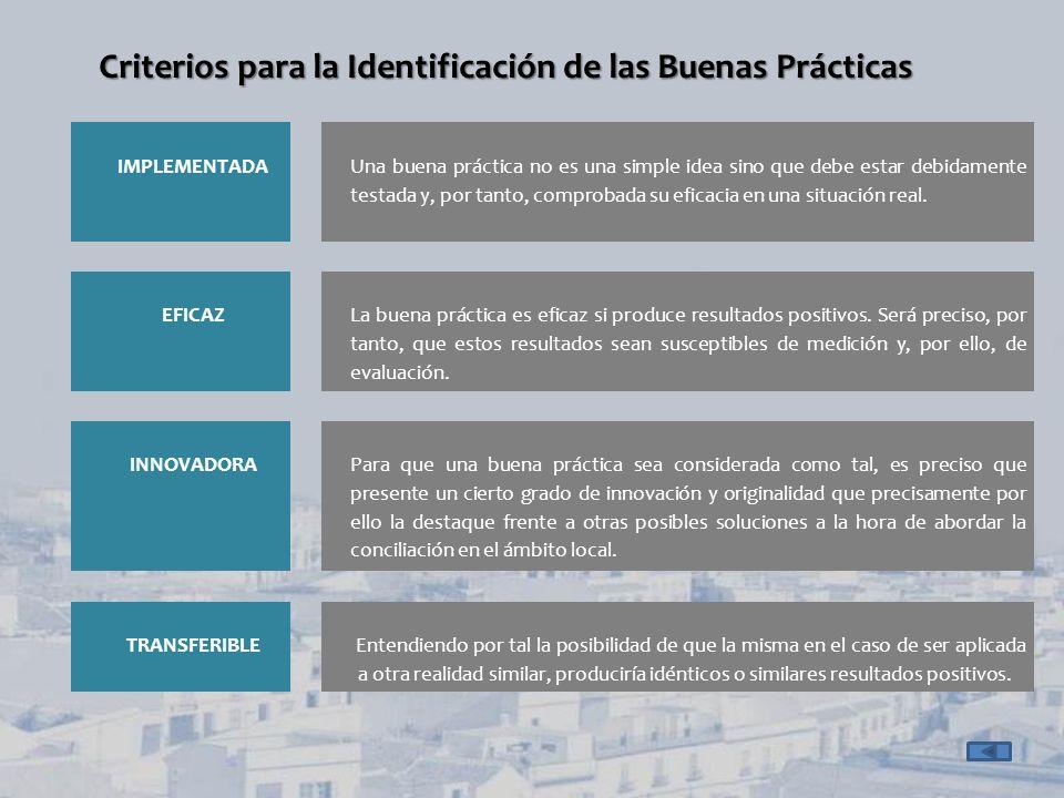 Criterios para la Identificación de las Buenas Prácticas