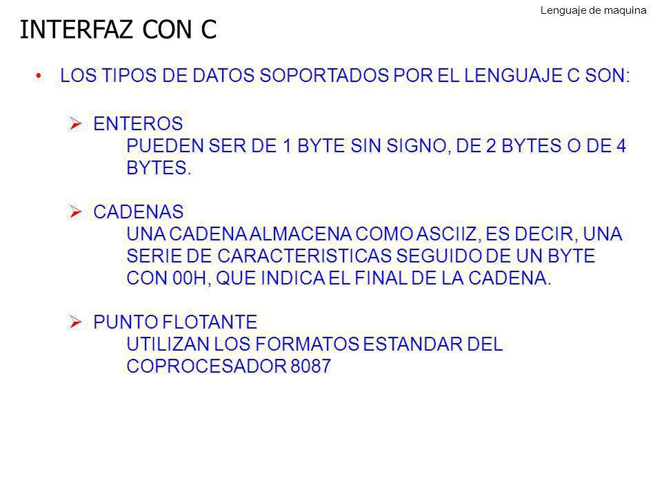 INTERFAZ CON C LOS TIPOS DE DATOS SOPORTADOS POR EL LENGUAJE C SON: