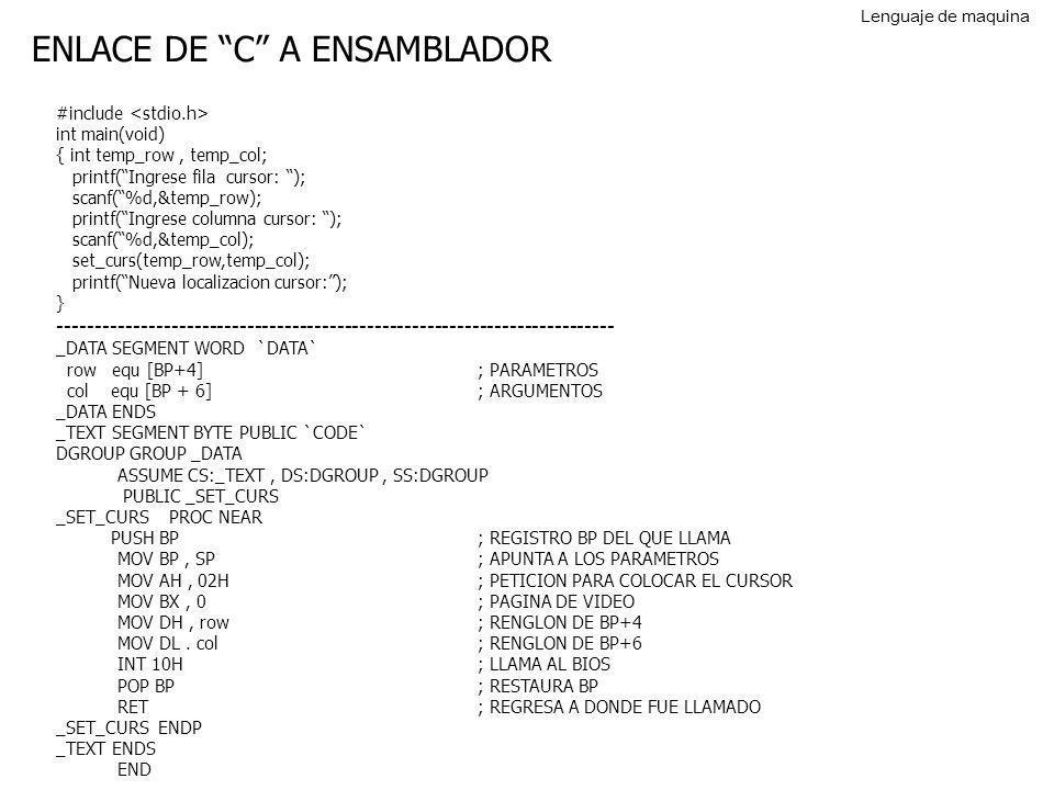 ENLACE DE C A ENSAMBLADOR