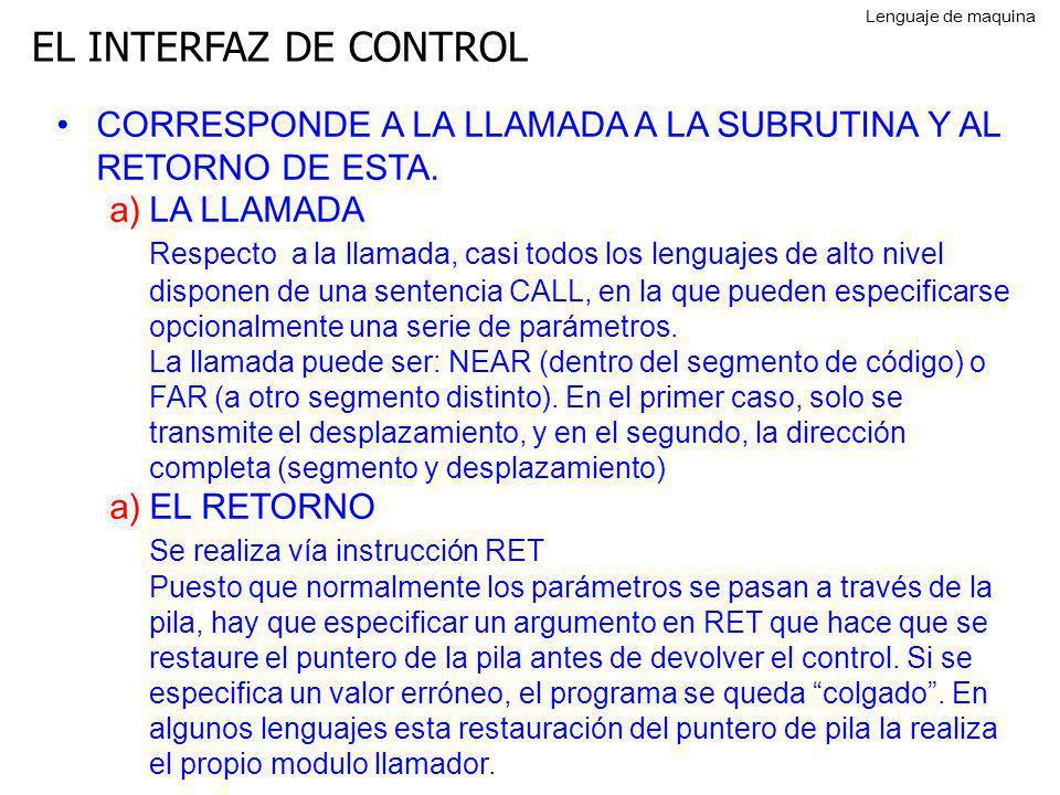 Lenguaje de maquina EL INTERFAZ DE CONTROL. CORRESPONDE A LA LLAMADA A LA SUBRUTINA Y AL RETORNO DE ESTA.
