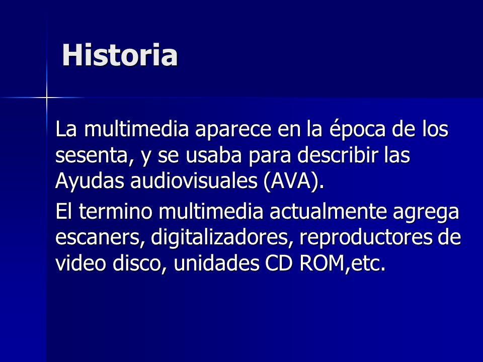 Historia La multimedia aparece en la época de los sesenta, y se usaba para describir las Ayudas audiovisuales (AVA).