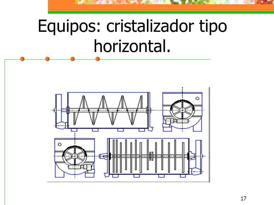 Equipos: cristalizador tipo horizontal.