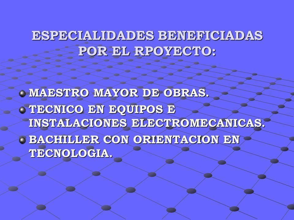 ESPECIALIDADES BENEFICIADAS POR EL RPOYECTO: