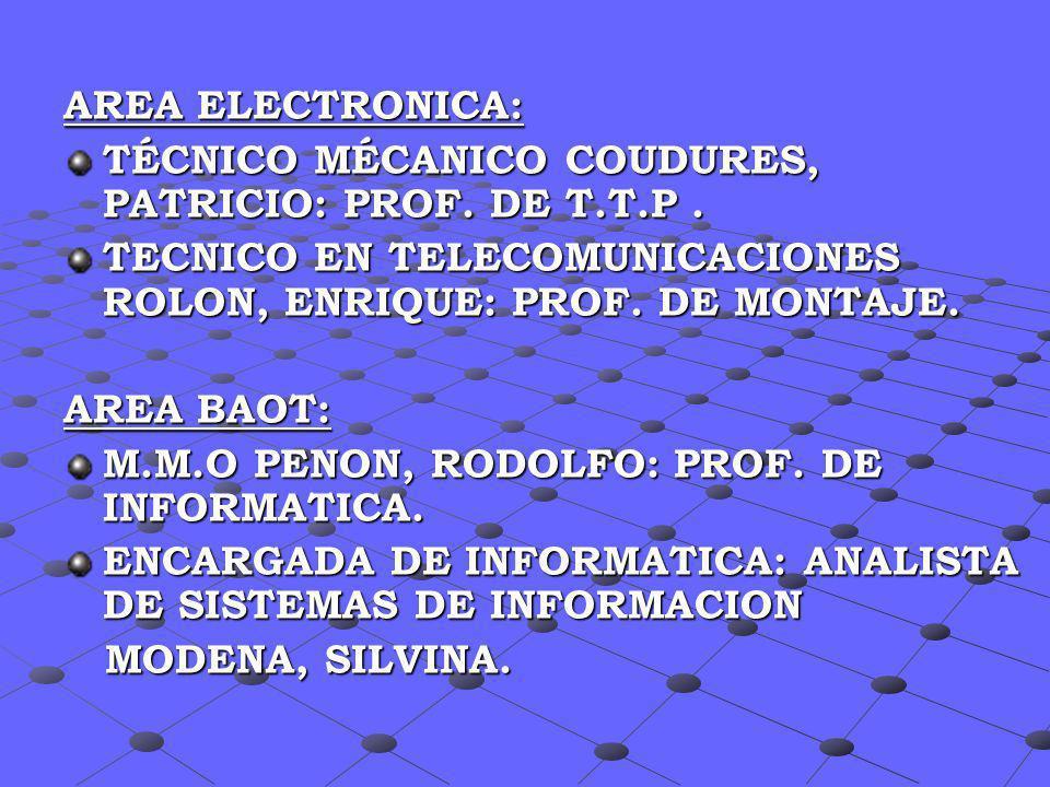 AREA ELECTRONICA:TÉCNICO MÉCANICO COUDURES, PATRICIO: PROF. DE T.T.P . TECNICO EN TELECOMUNICACIONES ROLON, ENRIQUE: PROF. DE MONTAJE.