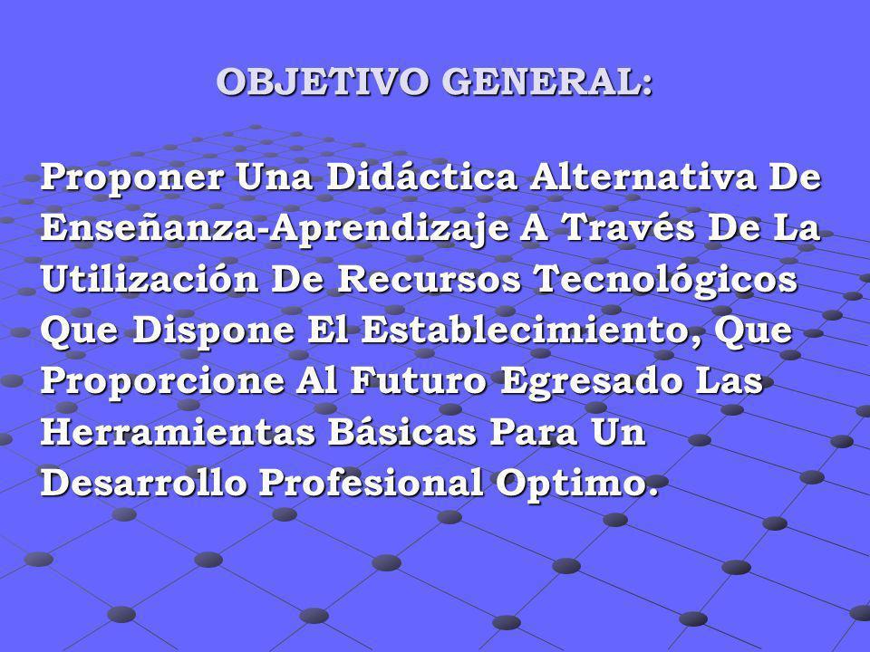 OBJETIVO GENERAL:Proponer Una Didáctica Alternativa De. Enseñanza-Aprendizaje A Través De La. Utilización De Recursos Tecnológicos.