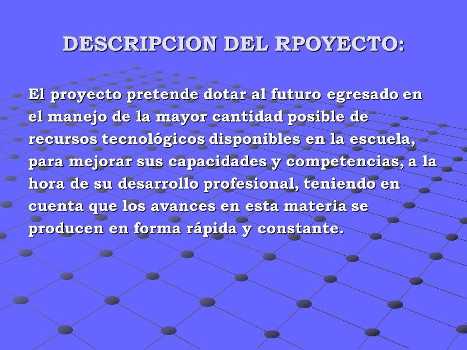 DESCRIPCION DEL RPOYECTO: