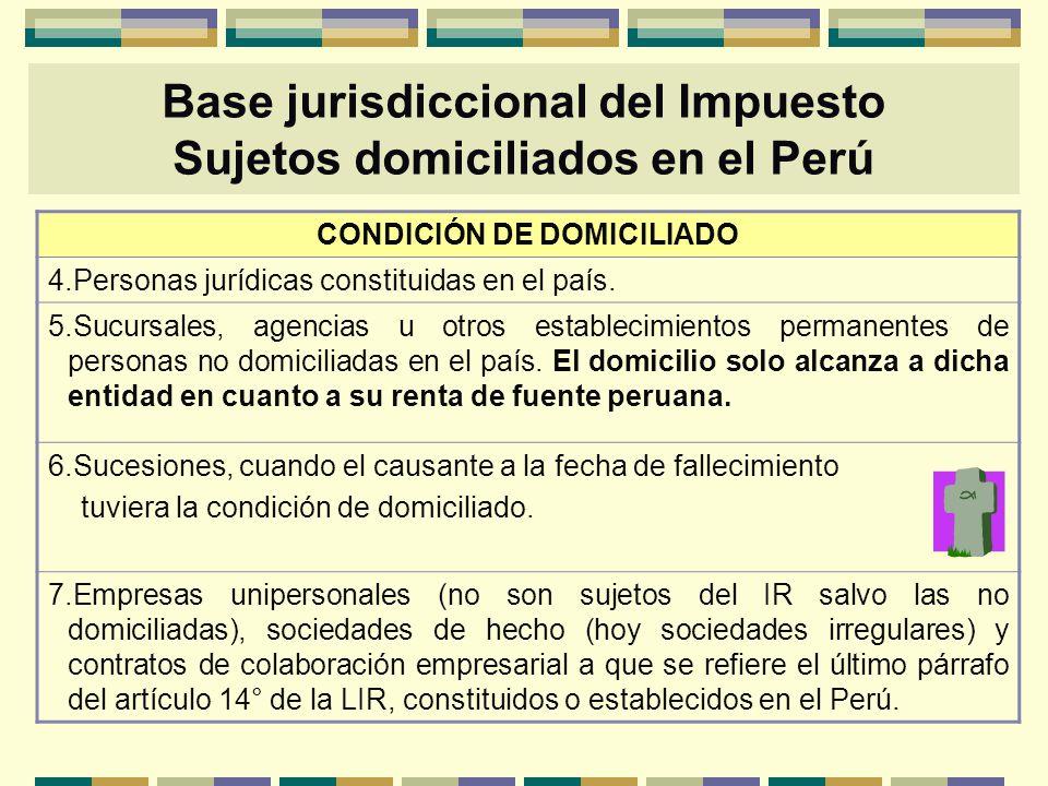 Base jurisdiccional del Impuesto Sujetos domiciliados en el Perú