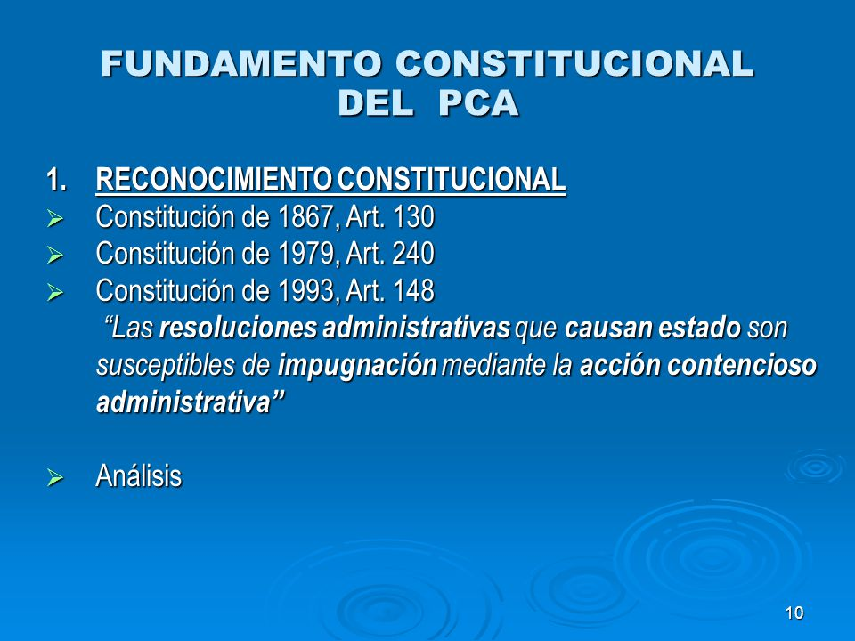 FUNDAMENTO CONSTITUCIONAL DEL PCA