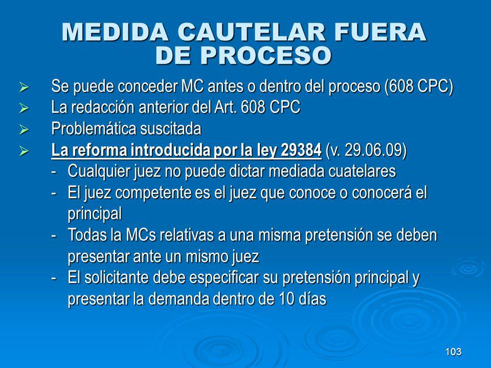 MEDIDA CAUTELAR FUERA DE PROCESO