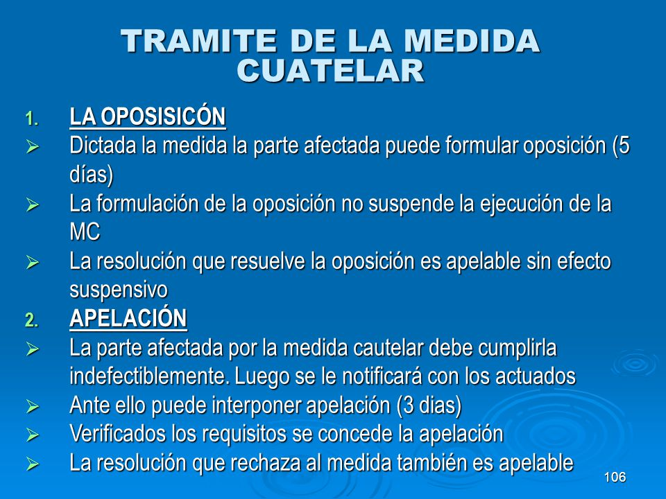TRAMITE DE LA MEDIDA CUATELAR