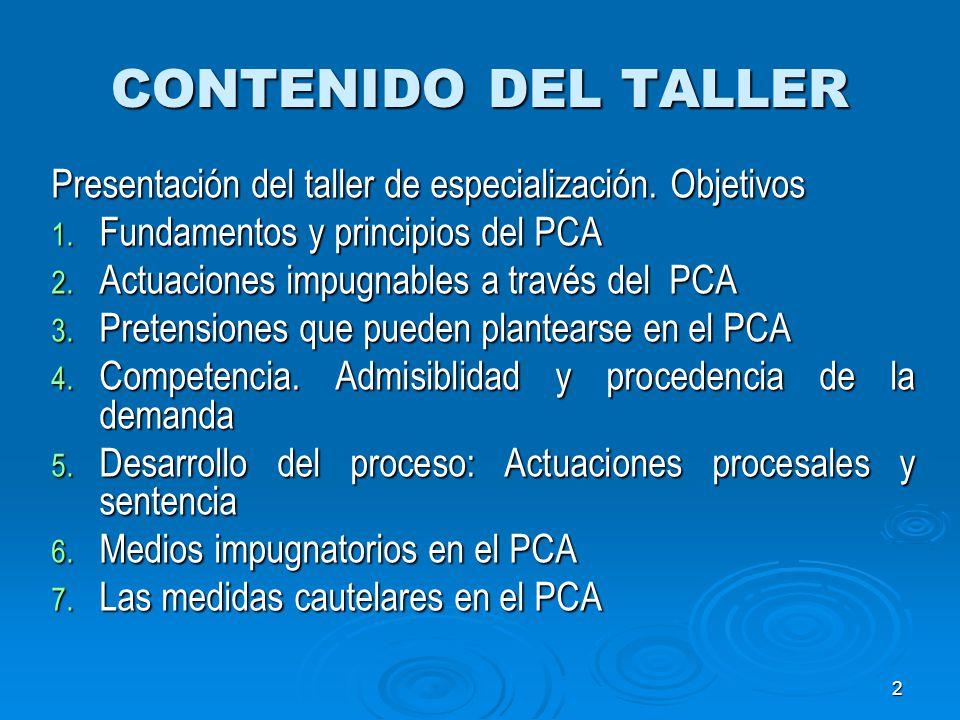 CONTENIDO DEL TALLER Presentación del taller de especialización. Objetivos. Fundamentos y principios del PCA.