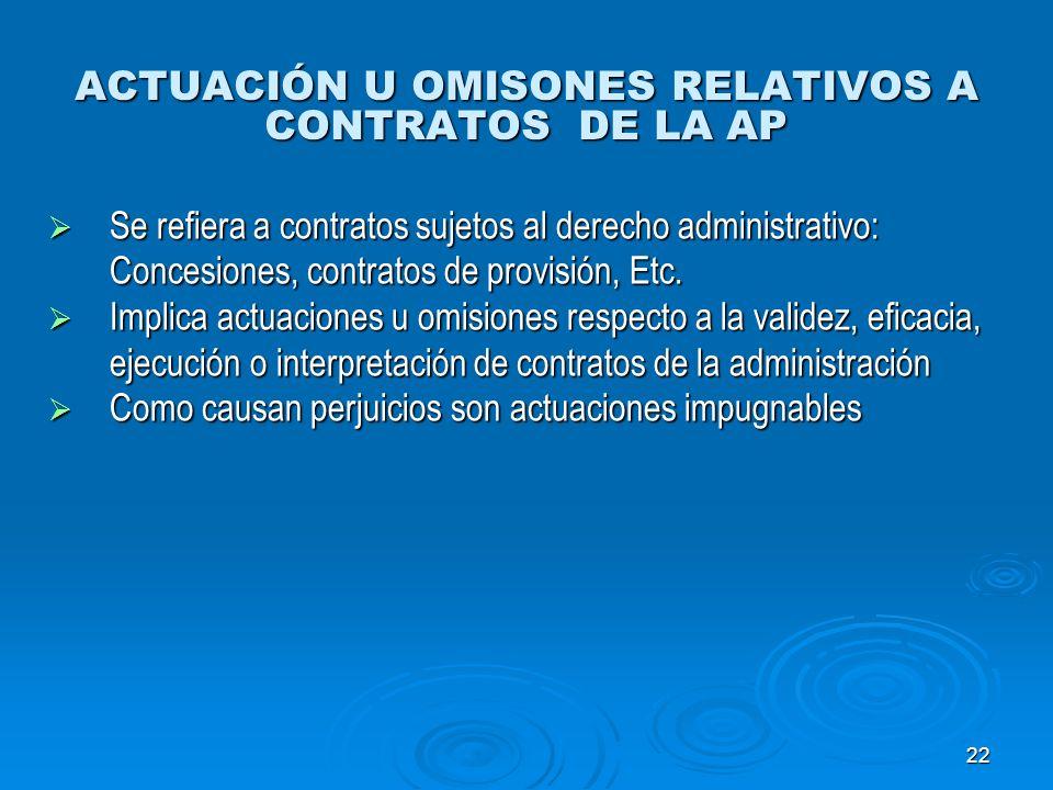 ACTUACIÓN U OMISONES RELATIVOS A CONTRATOS DE LA AP