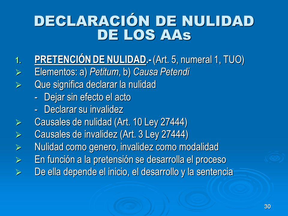 DECLARACIÓN DE NULIDAD DE LOS AAs
