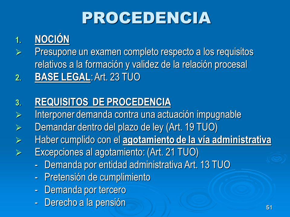 PROCEDENCIA NOCIÓN. Presupone un examen completo respecto a los requisitos relativos a la formación y validez de la relación procesal.