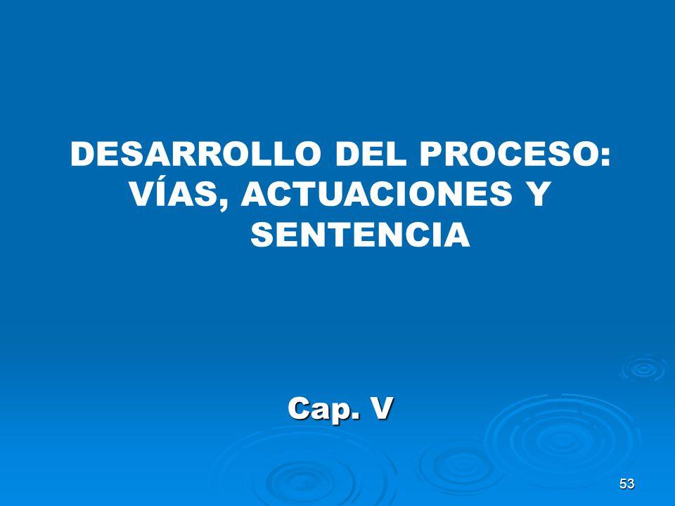 DESARROLLO DEL PROCESO: VÍAS, ACTUACIONES Y SENTENCIA