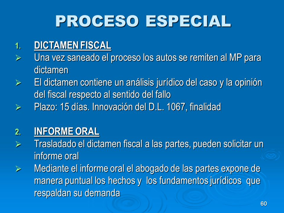 PROCESO ESPECIAL DICTAMEN FISCAL