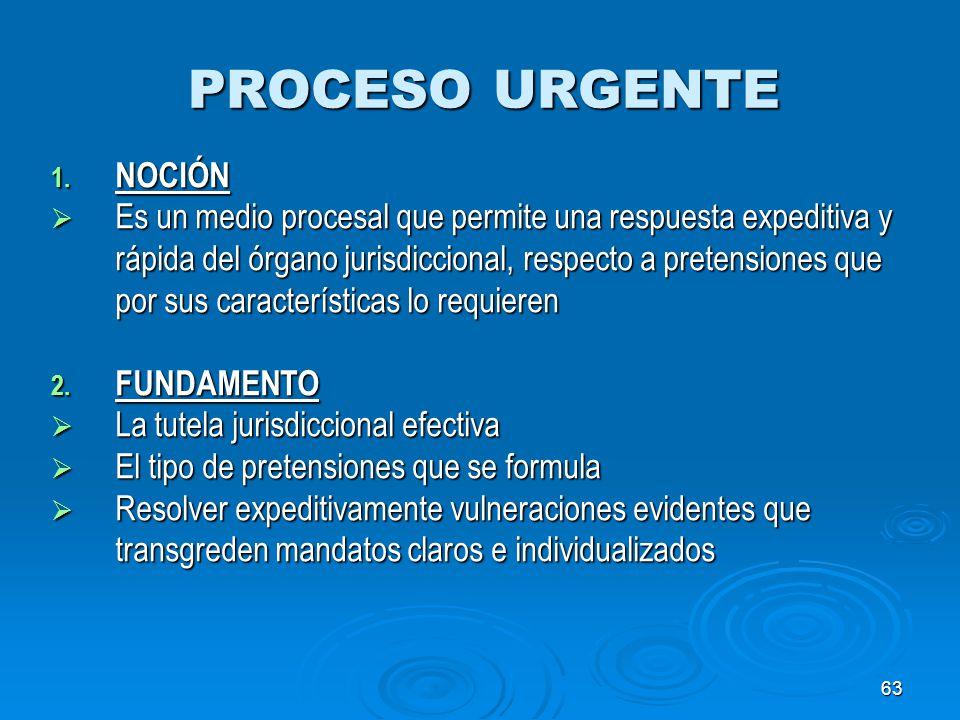 PROCESO URGENTE NOCIÓN