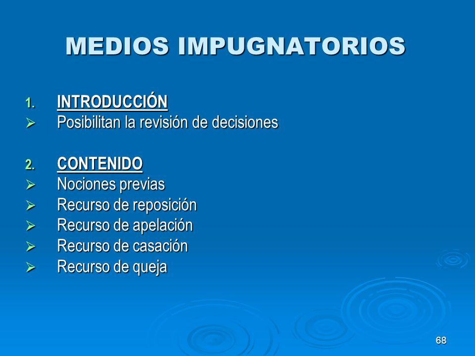 MEDIOS IMPUGNATORIOS INTRODUCCIÓN