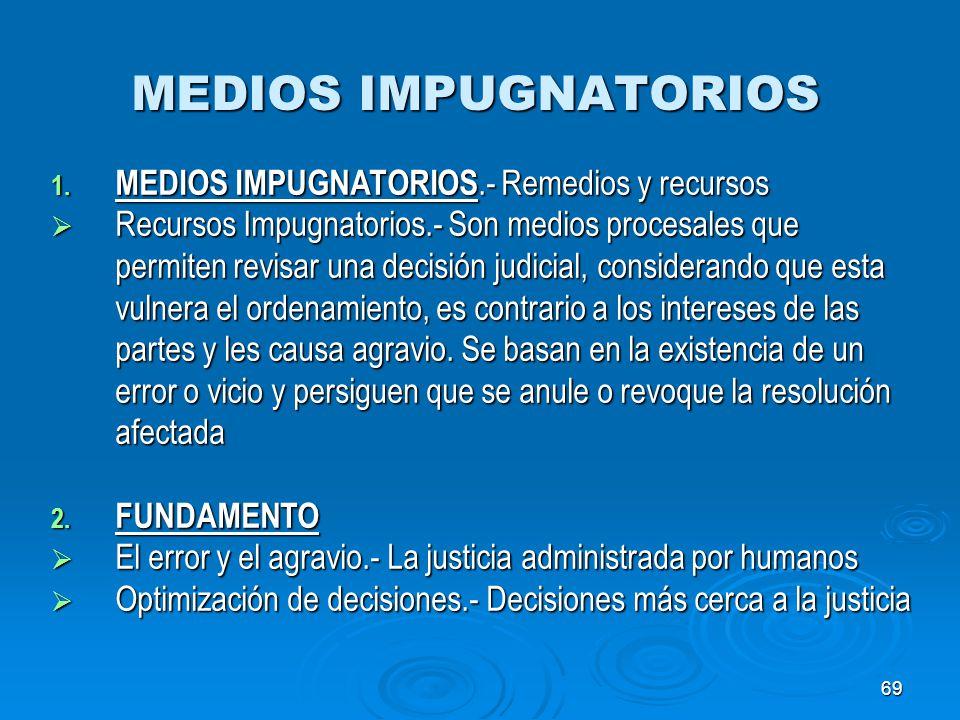 MEDIOS IMPUGNATORIOS MEDIOS IMPUGNATORIOS.- Remedios y recursos
