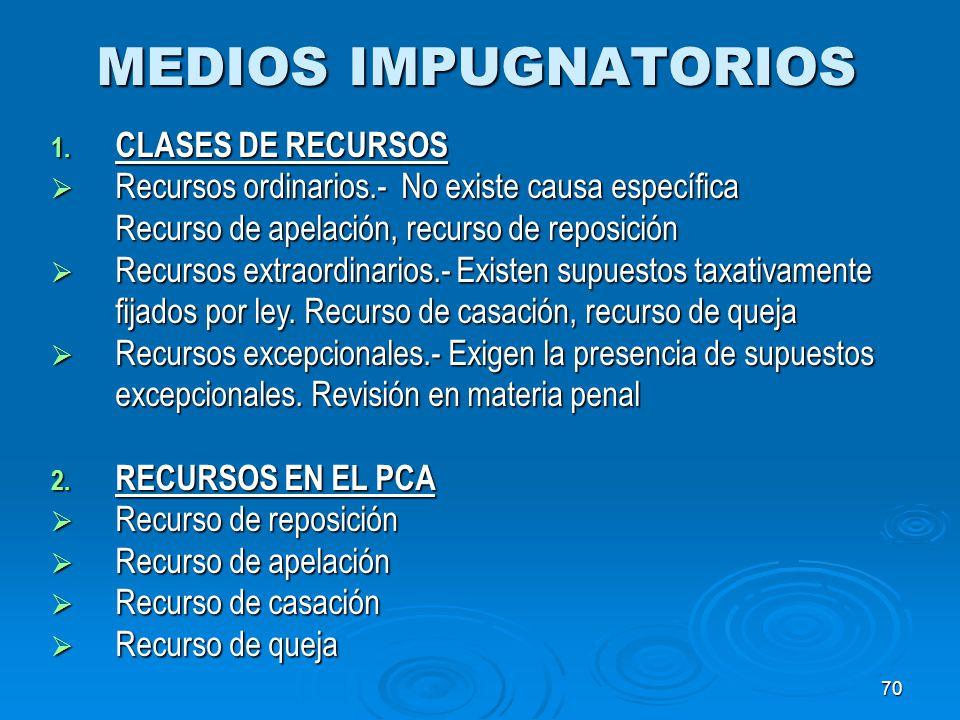 MEDIOS IMPUGNATORIOS CLASES DE RECURSOS